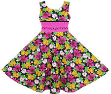 Girls Dress Princess Sunflower Lace Belt Party Summer Cotton Age 6-12 Years