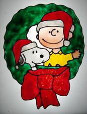 Charlie Brown & Snoopy in Wreath Faux Stained Glass Window Cling