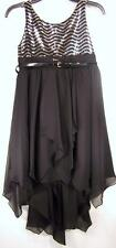 Amy's Closet Girls Dress 14 16 Sequin Black High-Low Belted Occasion Prom