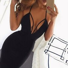 Women Summer Dress Deep V Halter Sleeveless Backless Bandage Bodycon Dress