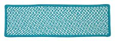 Houndstooth Tweed Indoor Outdoor Braided Rectangle Stair Tread, Turquoise