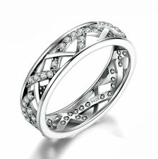 925 Sterling Silver Cubic Zirconia Wedding Ring Women Fashion Jewelry Size 6 7 8