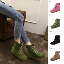 Womens Ankle Lace Up Boots Increase High Heel Booties Martin Boots Casual Shoes