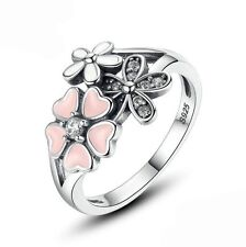 925 Sterling Silver Cubic Zirconia Hawaiian Flower Ring Fashion Jewelry size 6 7