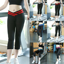 Lady Women Sport Yoga Athletic Gym Workout Fitness Waistband Capri Leggings Pant