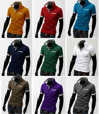 Mens Casual Slim Fit POLO Shirt Short Sleeve Stylish T-Shirts Tee Shirt Tops New