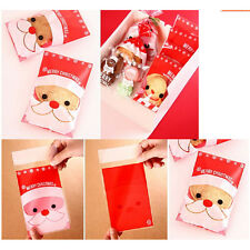 100Pcs Christmas Santa Cellophane Party Treat Candy Biscuits Gift Bags JP