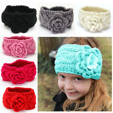 Baby Girls Kid Fashion Winter Crochet Knitted Flower Turban Headband Hair Band