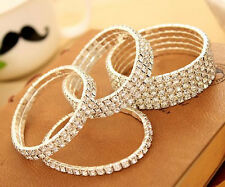 Womens Elastic Crystal Hot Chain Wedding Pick Rhinestone Bracelet New Bridal