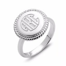 Sterling Silver Personalize Custom Monogram 15mm Disc Ring - Up to 3 Letters