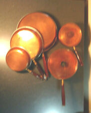 Vintage 7 pc Set Copper Wood Handle Pots, Pans & Lids      Sauce Pan Skillet  #2