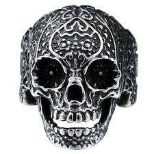 316L Stainless Steel Fashion Men Punk Floral Skull Biker Ring Jewelry Size 8-12/