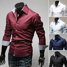 Luxury Mens Casual Dress Shirt Long Sleeve Slim Fit Stylish Shirts Button Front&