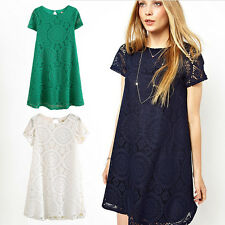 Women Lace Mini Dress Hollow Bohemian Cocktail Evening Party Dresses Clubwear