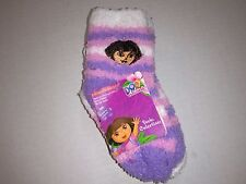 3 Pack Baby Girls Dora Character Fuzzy Non-Skid Socks 18-24 Month New FREE SHIP!