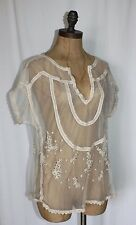 MESH EMBROIDERED TOP NEW WILLOW & CLAY SUMMER BOHO IVORY SHEER BLOUSE