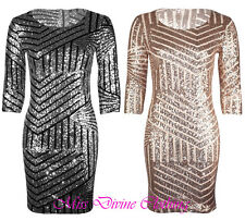 WOMENS 3/4 SLEEVE AZTEC TUBE SEQUIN EMBELLISHED SHORT MINI ZIP BACK PARTY DRESS