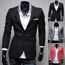 Fashion Mens Party Coat Jacket Blazer Slim Fit Casual Two Button Suits Jackets