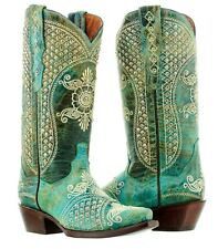 womens turquoise real leather rhinestone bridal western cowboy rodeo boots snip