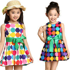 New Fashion Kids Girl Cute Dresses Casual Summer Cool Sleeveless Colorful Dress