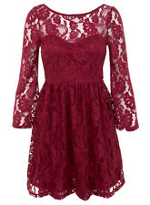 NEW MISS SELFRIDGE PETITES BURGUNDY LACE DRESS - SIZE 6-12  (EURO 34-40)