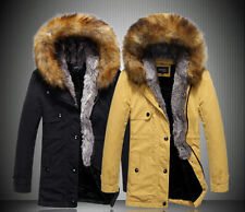 Men's Winter Coat Long Wool Coat Thick Furry Hooded Jacket Parka Trench Coat Hot
