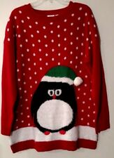Womens Sweater Red Penguin Fuzzy Stitches Snowballs Long Fit Kim Rogers 1X 2X 3X