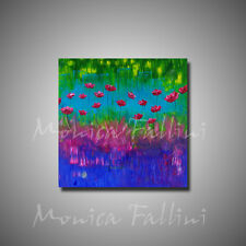"""Poppies abstract painting modern fine art 40""""x40"""" by artist Fallini"""