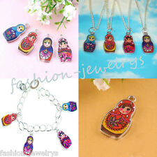 Lots 5Pcs Double-Sided Colors Enamel Russian Doll Charms Pendant Jewelry Making