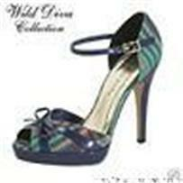 RETRO TEAL GREEN & NAVY BLUE PLAID SHOES PEEP TOE CLOSED HEEL OPEN SIDE PUMPS