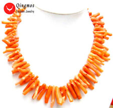 "SALE Beautiful! Big 5*30mm GENUINE Pink Branch shape Coral 20"" Necklace-nec5608"