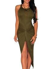 Women Summer Knotted Front Ruched Tank High Low Sun Dress Bodycon Sun Dress