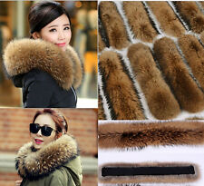 New Womens Luxurious 100% Genuine Raccoon Fur Collar Scarf Real For Coat Jacket