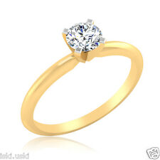 0.41Ct Man Made Diamond Ring Gold Finish Sterling Silver Diamond Engagement Ring