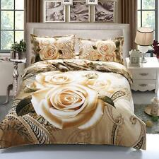 Double King Size Floral Gold  Rose 3D duvet bedding set  LIMITED EDITION  xmas