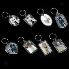 10x Blank Clear Acrylic Keyrings-Make Your Own Photo Keychains-Insert Any Photos