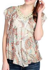 NEW - One World Printed Knit Flutter Sleeve Lace Detail Pointed Hem Top