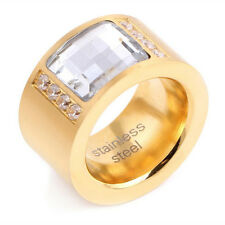 Vogue Women Gold 316L Stainless Steel AAA Zircon Crystal Ring Wedding Jewelry
