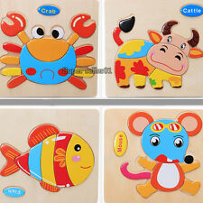 Wooden Animals Jigsaw Kid Intelligence Educational Toy Puzzle Cartoon Plaything