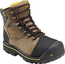 KEEN BOOTS MILWAUKEE INSULATED WP BROWN LEATHER STEEL TOE WORK BOOT MEDIUM WIDTH