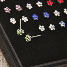 24pcs Surgical Steel Nose Ring Stud Crystal Rhinestone Flower 20 Gauge 0.8mm