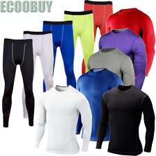 Mens Compression Armour Baselayer Top Thermal Under Skins Stretch Shirt Leggings