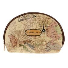 PU Leather World Map Coin Purse Pouch Bag Key Case D Shape Womens Cosmetic Bag