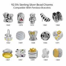 925 Sterling Silver Bead Charms for European Charm Bracelet Necklace 28-1373
