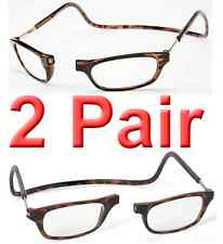 2 Pair Tortoise Adjustable Magnetic Reading Glasses - Compare CliC @ $39.99 each