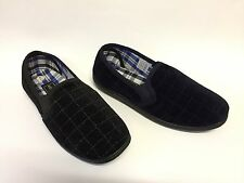 Mens Hard Wearing Sole Twin Elasticated Gusset Velour Slippers Black/Navy6-12