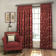 Pair Burgundy Red FULLY LINED Floral Woven Jacquard Curtains