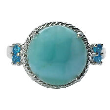 Larimar & Neon Apatite in 925 Sterling Silver Solitaire With Accents Ring GSR546