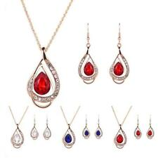 Women Teardrop Pendant Crystal Alloy Chain Necklace Earring Jewelry Set Prom Hot