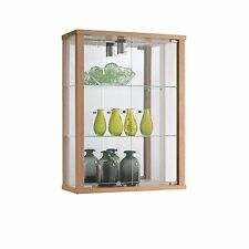 HOME DISPLAY LOCKABLE WALL MOUNTED GLASS DISPLAY CABINET VARIOUS COLOURS